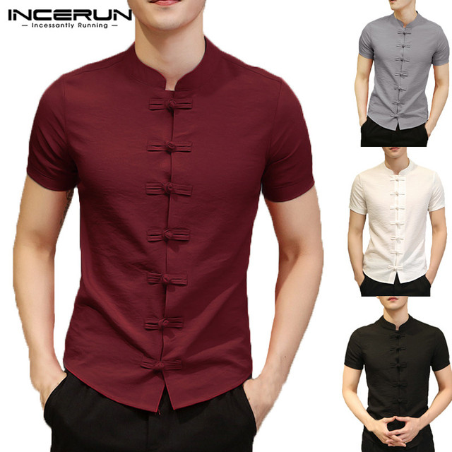 cf446f8d4 INCERUN 2019 Chinese Style Shirt Men Short Sleeve Solid Color Slim Fit  Vintage Dress Shirt Men Fashion Cotton Linen Casual Shirt
