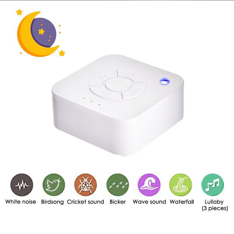 Branco Máquina de Ruído USB Recarregável Máquina de Som Sono Desligamento Temporizado Para o Relaxamento do Sono Para O Bebê Adulto Viagem Escritório