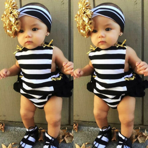 Cute 2Pcs Toddler Baby Girl Clothes Belt Striped   Romper   Gold Bow Gold Headband Jumpsuit Sunsuit Outfits
