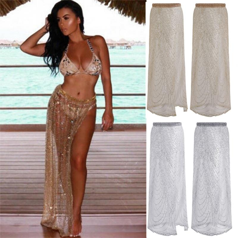 Sequin Skirt Chain Wrap Belly-Dancing-Skirt Rhinestone Women Split Long -2 Sarong Transparent title=