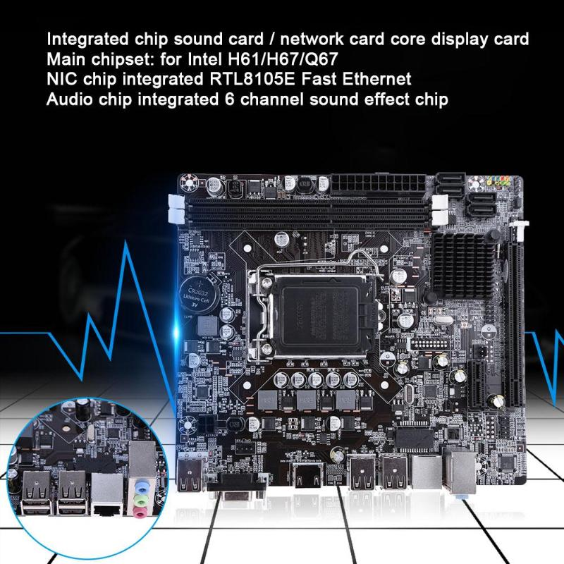 H61 Desktop Computer Mainboard Motherboard 1155 Pin CPU Interface Upgrade USB3 0 B75 2 X DDR3