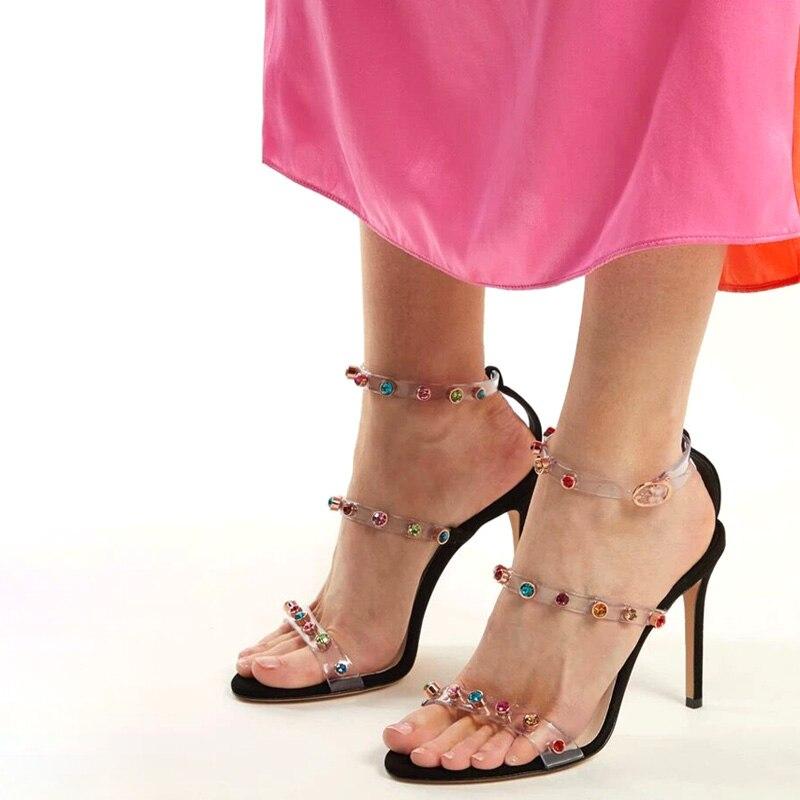 Zapatos Sexy Correas Piedras 8 black Pvc Tobillo Cristal 10 Cm Cm Sandalias Preciosas Lucency Cm Bling Mujer Remaches Apricot Belleza De Espárragos Correa apricot Verano 54UwaFqcR