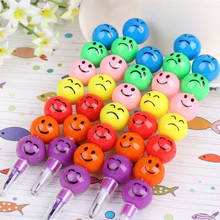 Cute Colored Pen Ice Sugar Smiling Face Creative Sketch Crayon Toys For Children Kids Learn Painting Gift Office School Tool цена