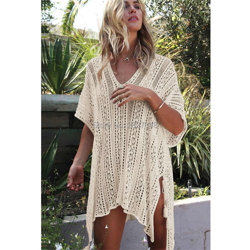 bdb117e5da05 Sexy Crochet beach V Neck Cover Up Split Swimwear Summer Outings Swimsuit  See-through Cover