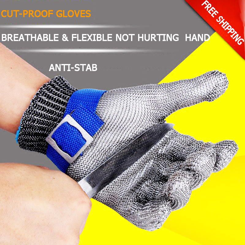 High quality Safety Working Gloves Cut proof Protect Glove 304 Stainless Steel Preparation Anti stab Gloves With Lined Gloves