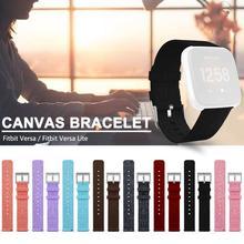 Braccialetto di Vigilanza Del Wristband Della Fascia di Ricambio Premium Canvas Strap Chiusura Per Fitbit Versa Fitbit Versa Lite Smartwatch di Alta Qualità
