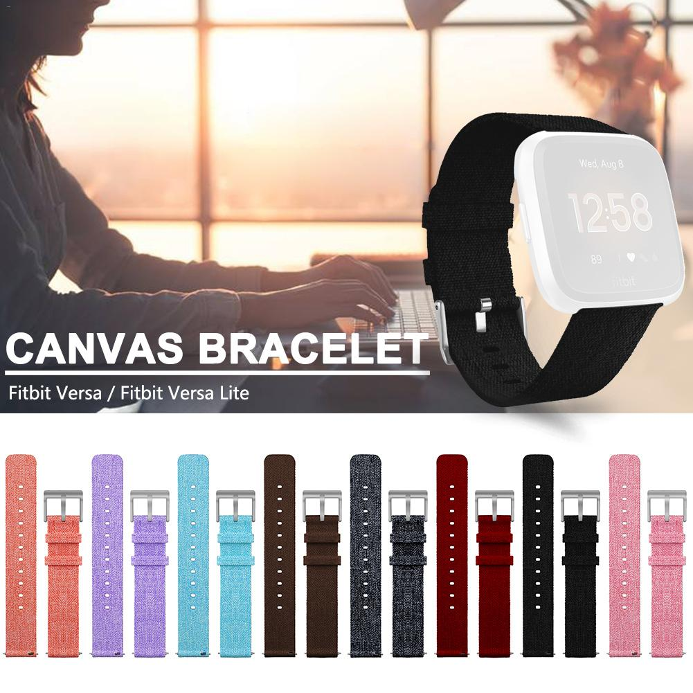 Bracelet Replacement Wristband Watch Band Premium Canvas Strap Clasp For Fitbit Versa Fitbit Versa Lite Smartwatch High Quality-in Smart Accessories from Consumer Electronics