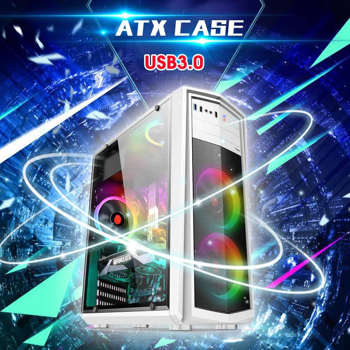Ordinateur de bureau Central ATX Cas Plein côté Jeu Home Office Châssis USB3.0 385x180x435mm Ordinateur cas et Tours