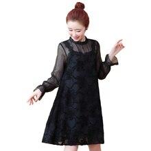 цены Spring Summer New Casual Women O-neck Flare Sleeve Lace Dresses Elegant Black A-line Mini Party Dress Vestidos Plus Size 5XL