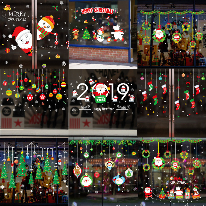 Cute Cartoon Christmas Window Stickers Colorful  Xmas Santa Removable Window Stickers Wall Home Shop Xmas Glass Window Stickers