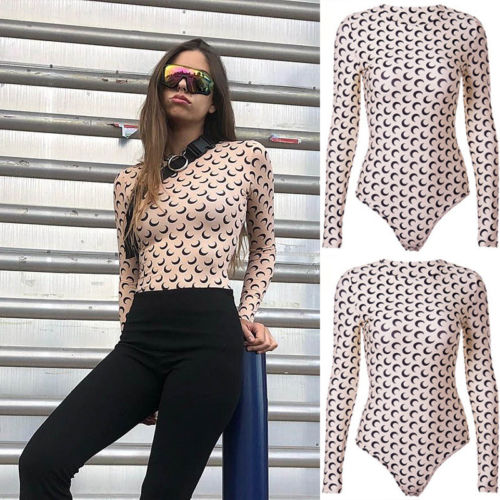 2019 New Sexy Women Moon Print Romper   Jumpsuit   Top Shirt Long Sleeves Clothes Clubwear