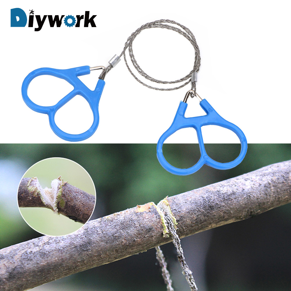 DIYWORK Fretsaw Emergent Survival Wire Saw Outdoor Hunt Fish Hand Tool Stainless Steel Handle for Cutting