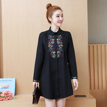 Embroidery Korean Chic Plus Size Women Shirt Dress 2019 Lolita Turn-down Collar Spring High Waist Long Sleeve Mini Dress 4XL 5XL петля рояльная 788х30 мм цинк