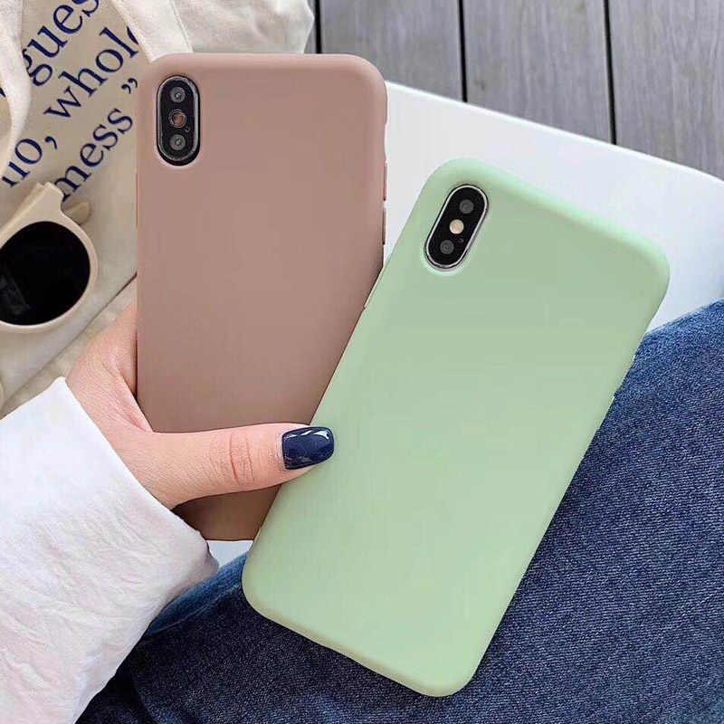 USLION карамельный цвет чехол для телефона для iPhone XS 11 Pro Max XR XS Max X Простой силиконовый чехол для iPhone 6 6S 7 8 Plus Мягкий ТПУ чехол