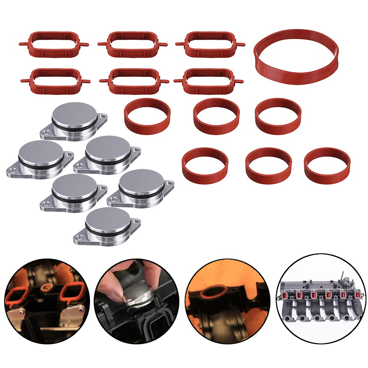 One Set 19PCS 32mm O-Ringen Aluminum Exhaust Pipe Repair Kit with Gaskets For BMW E46 E53 E60 E61 E63 E66 1998- 2013 11612246945