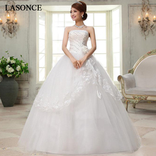 LASONCE Crystal Strapless Lace Appliques Ball Gown Wedding Dresses Off The Shoulder Flowers Backless Bridal Gowns lasonce lace appliques ball gown wedding dresses crystal strapless off the shoulder sequined backless bridal gowns