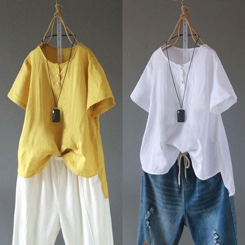 Plus Size Button Down Chemise Vintage Women Linen Blouse Female O Neck Tee Shirts 2020 ZANZEA Summer Short Sleeve Tunic Tops 5XL