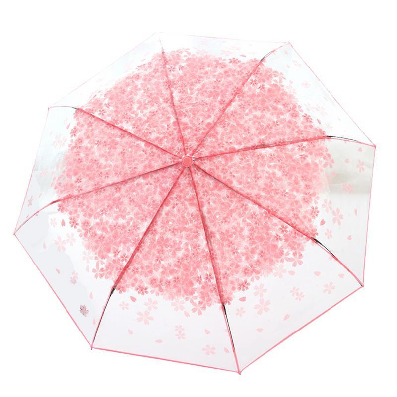 Folding Transparent Clear Umbrella Windproof Rain Cherry Blossom Mushroom Sakura