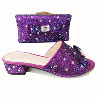 00221 4 Latest Women Shoes and Bag Set In Italy Purple Color African Women Italian Shoes and Bag Set Nigerian Shoes bags