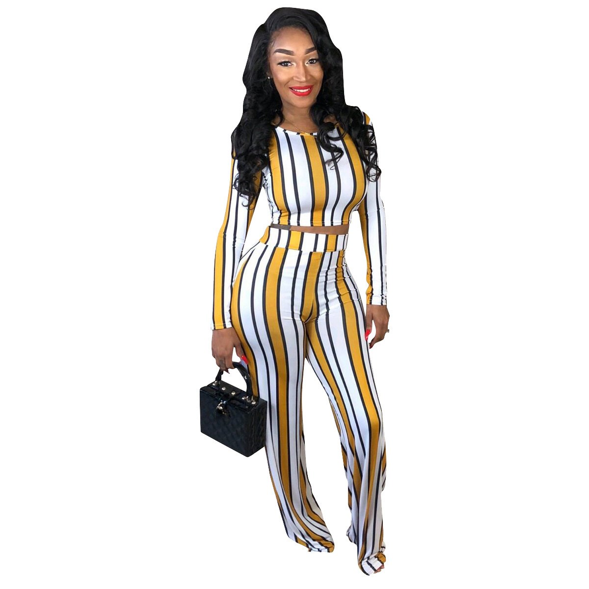 Print Sexy 2 Two Piece Set Top And Pants Autumn Outfits O-Neck Long Sleeve Wide Leg Pants Striped Women Tracksuit