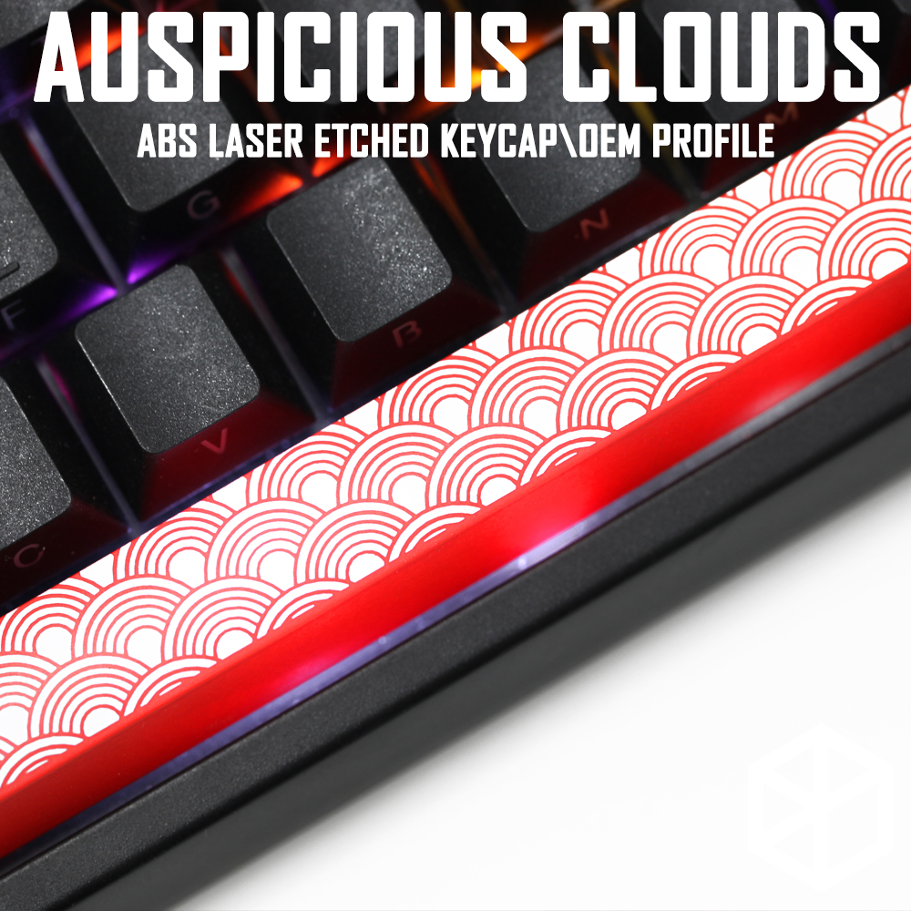 Novelty Shine Through Keycaps ABS Etched, Shine-Through Red Custom Mechanical Keyboard Spacebar Auspicious Clouds Xiangyun