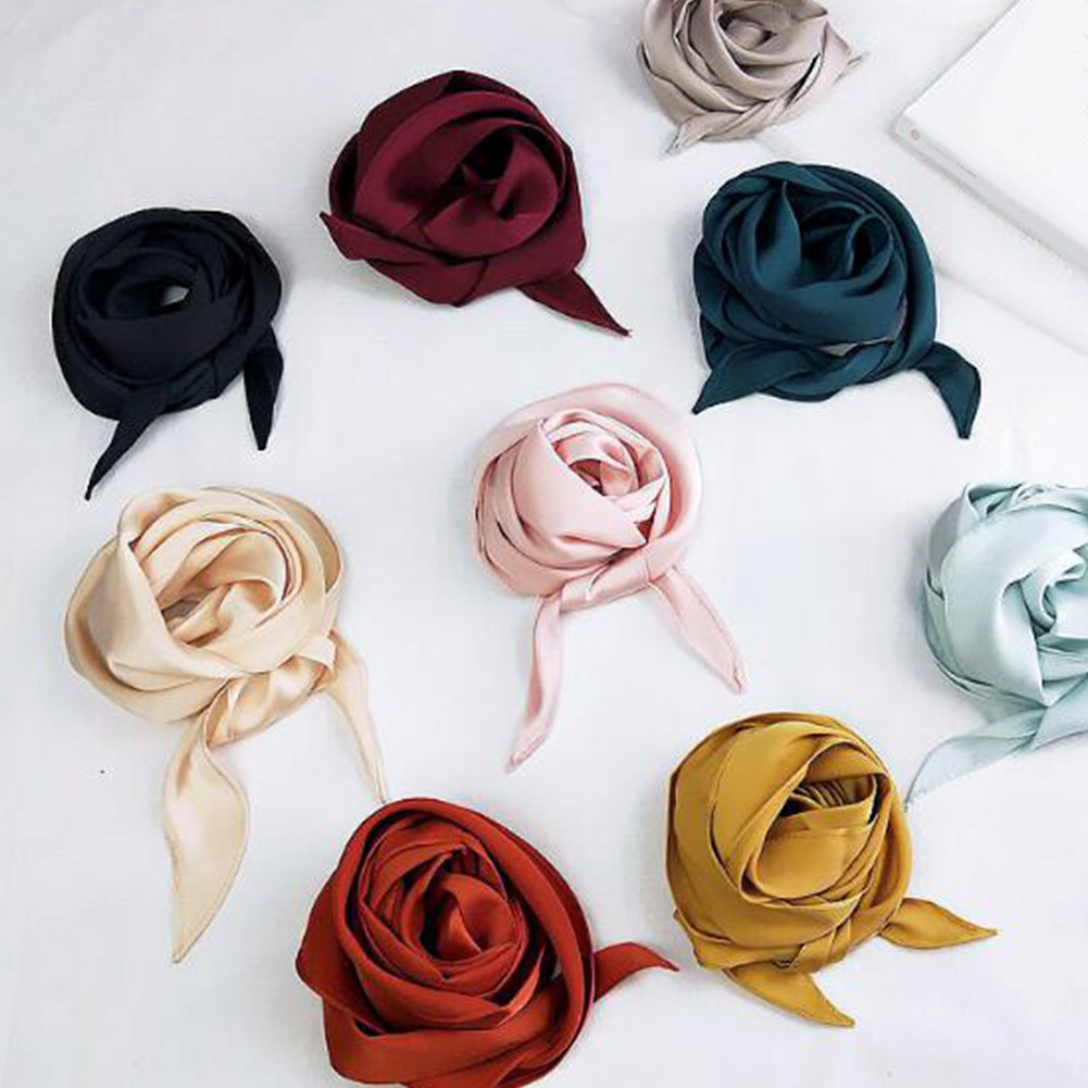 Fashion Solid Color Long Ribbon Silk Scarf Spring Summer Women's Wild Small Neck Scarves Neckerchief Hair Band Bag Handle Wraps