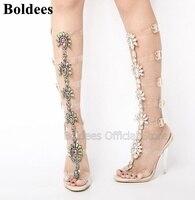 Модные блестящие босоножки на тонком высоком каблуке, украшенные кристаллами, женские летние прозрачные сапоги до колена из ПВХ