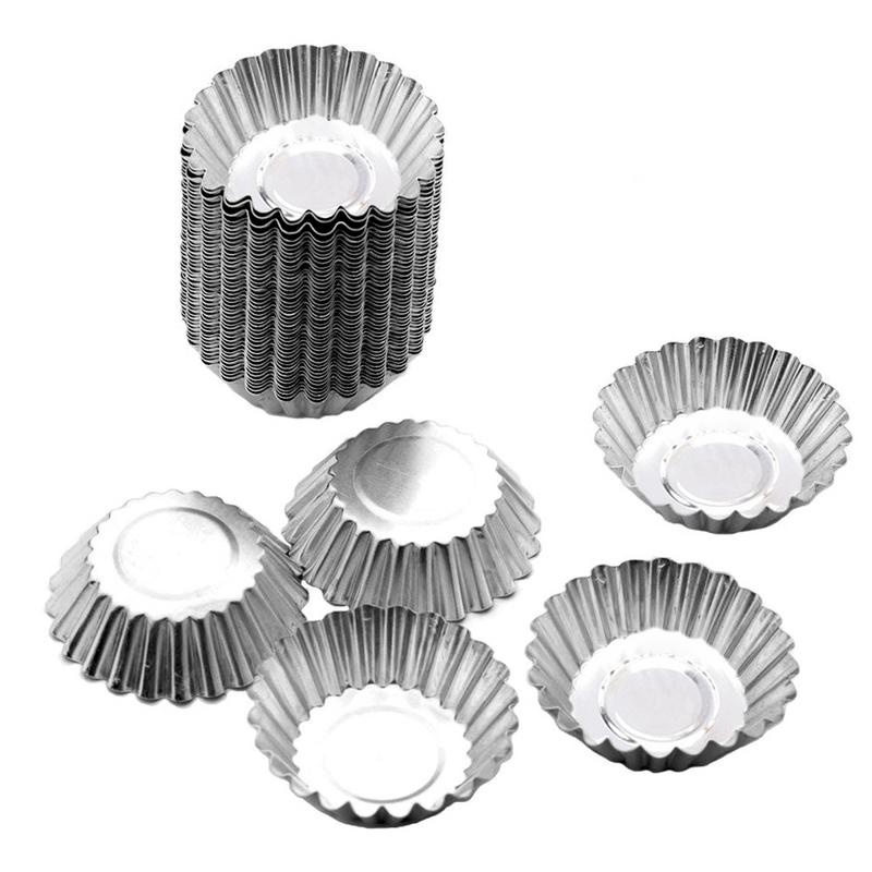 5/10/20pcs Egg Tart Molds Stainless Steel Cupcake Mold Thickened Reusable Cake Cookie Mold Tin Baking Tool Baking Cups-in Cake Molds from Home & Garden