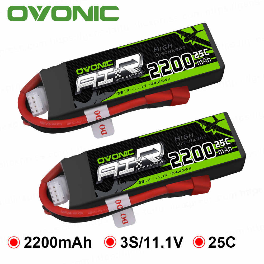 OVONIC LiPo Battery RC 2200mAh 3S 11.1V 25C Max 50C Battery Pack with XT60 T Plug for Phantom FC40 Spare Walkera E22 RC Boat Car