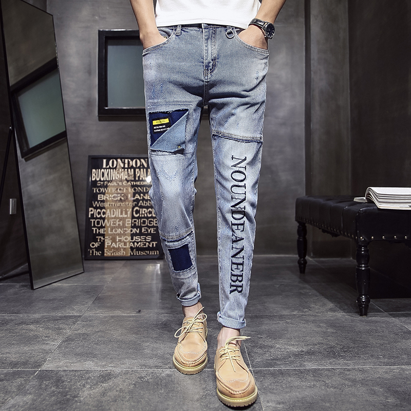Mode homme Vintage déchiré Jeans Skinny Slim Fit Zipper Denim pantalon détruit effiloché pantalon lettre imprimé pantalon Jeans Hombre-in Jeans from Vêtements homme on AliExpress - 11.11_Double 11_Singles' Day 3