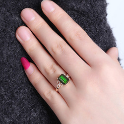 Bague en diamant émeraude pour femmes, Bague en diamant Turquoise, or Rose, 14K