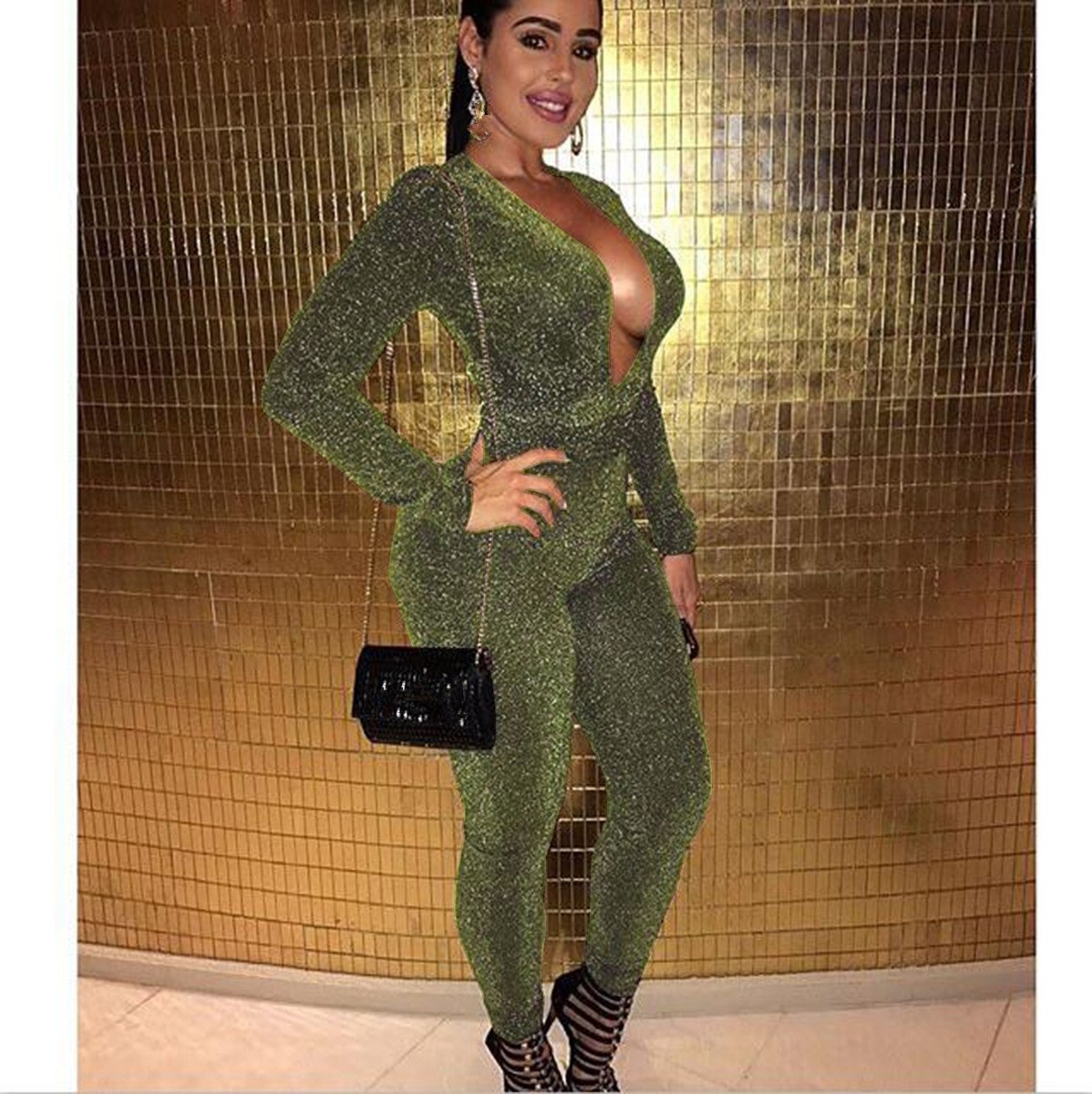 4da3a86880e3 Detail Feedback Questions about Autumn Women s Sexy Sparkly V Neck Skinny  Jumpsuit Long Sleeve Party Clubwear Romper Sexy Club Solid Glitter Overalls  ...