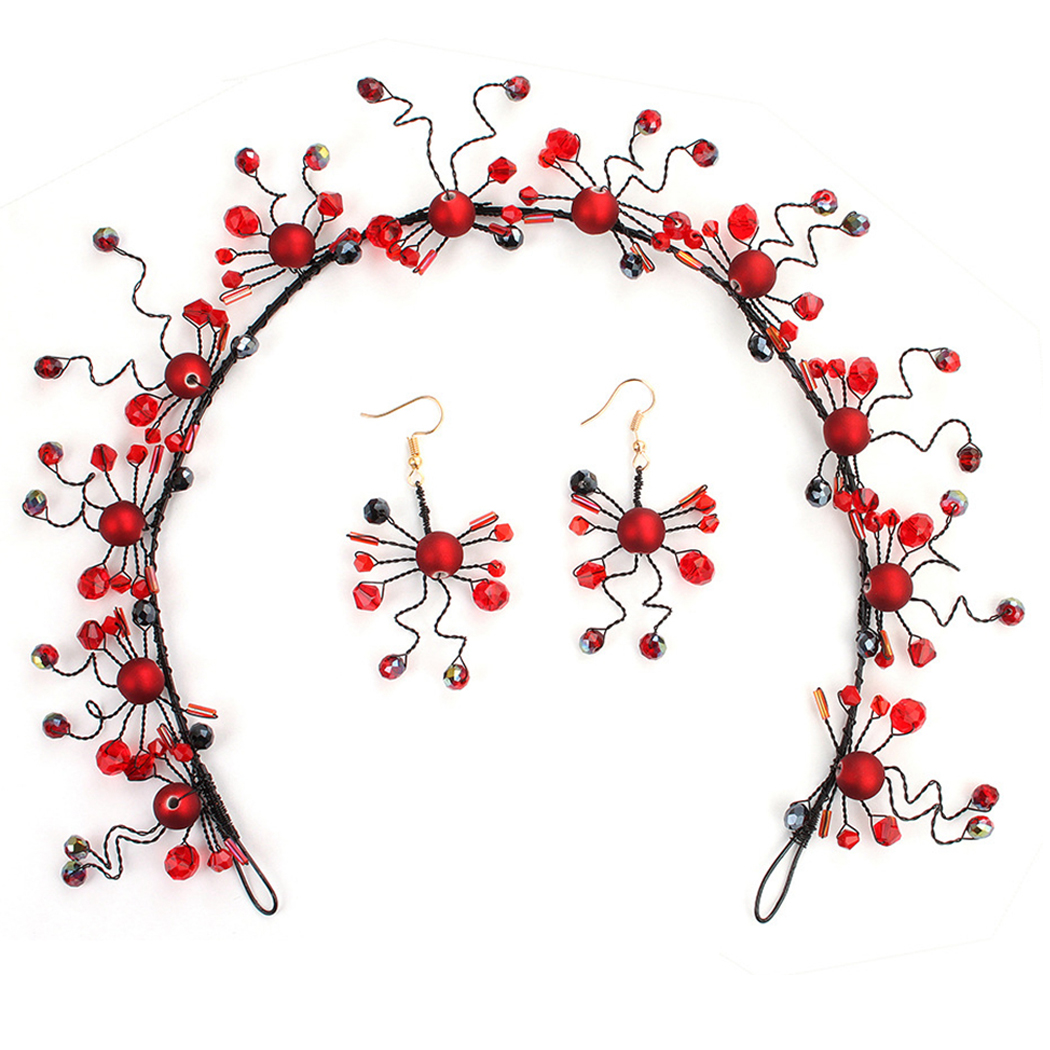 Earrings Beads Holiday-Accessories Bridal-Headband Wedding-Headdress Red Vacation Party