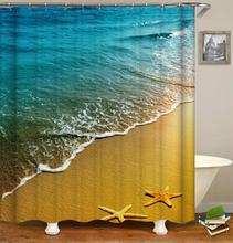 Beach Scenery Shower Curtain Bathroom Waterproof Polyester Shower Curtain Leaves Printing Curtains For Home Decor Lavander stylish dancing ladies print shower curtain bathroom decor