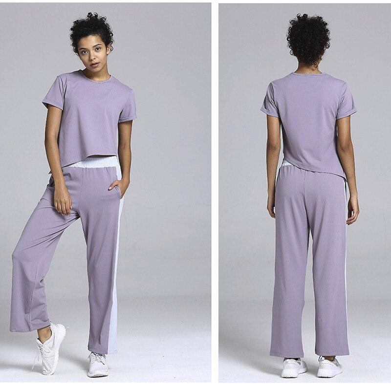 Femmes Sportswear Solide décontracté Sport hauts + Pantalon Costume Ensemble De Yoga Lâche Gym vêtement de fitness Survêtement 2019 Femme vêtements d'entraînement