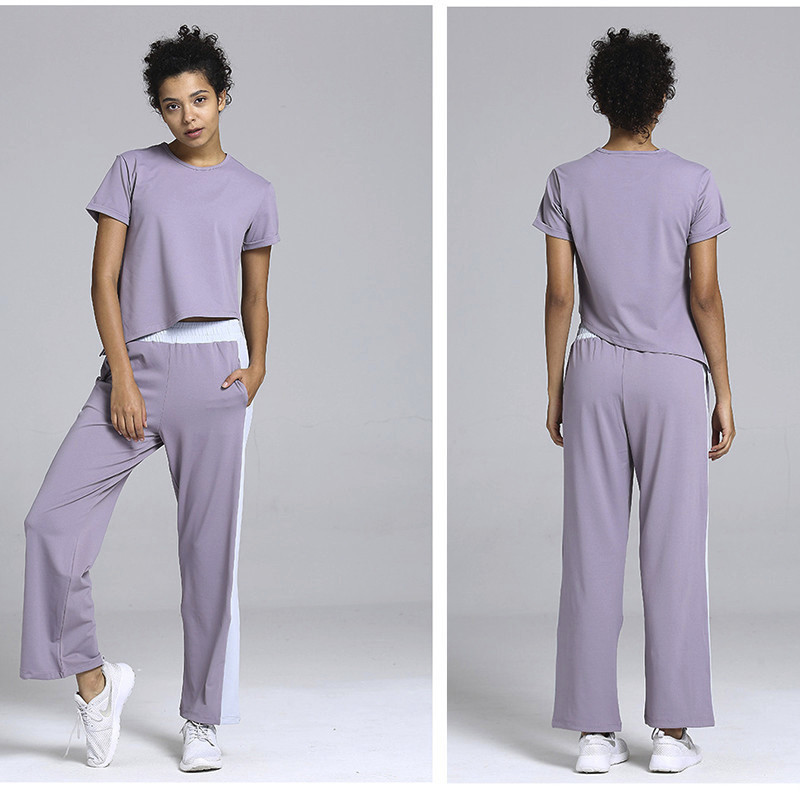 Womens Sportswear Solid Casual Sport Tops+Pants Suit Loose Yoga Set Gym Fitness Sports Wear Tracksuit 2019 Woman Workout Clothes