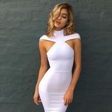 Summer Dress Hot Womens Sexy Bandage Sleeveless Turtleneck Skinny High Waist Size S-XL