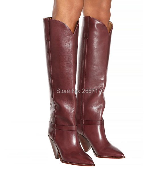 31a0ad5eace Zapatos Mujer Women Coffee Color Knee High Boots Pointed Toe Spike Heels  Patent Leather Cowboy Boots Winter Long Booties Women