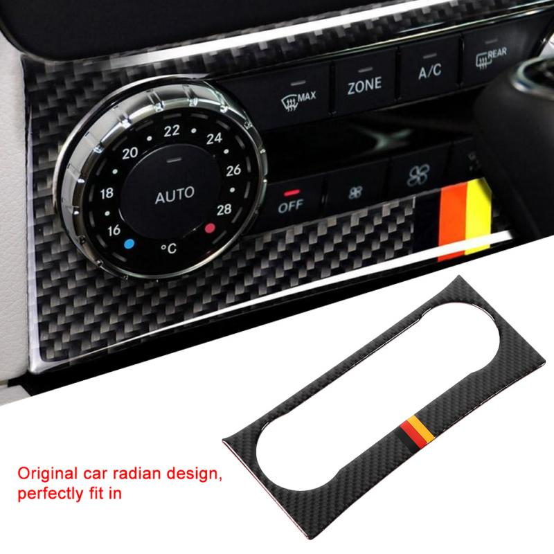 Carbon Fiber Car Air Conditioning Vent Sticker Trim Cover Frame for Mercedes-Benz C-Class W204 2011-2013 Car Styling