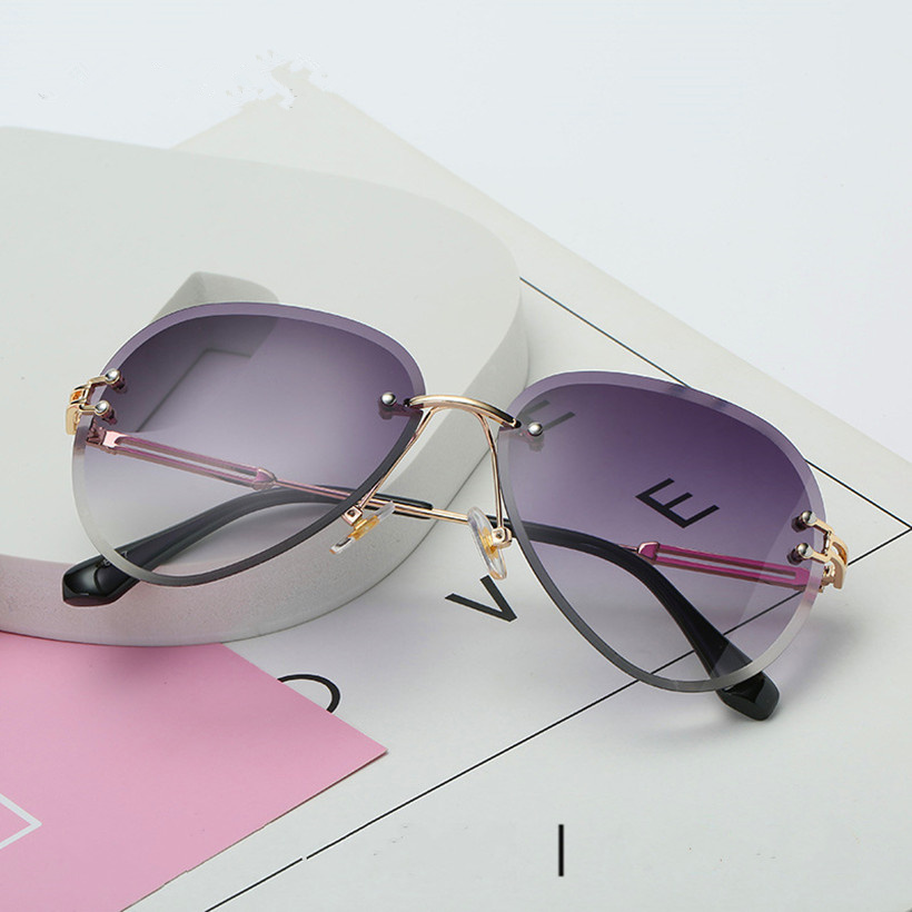 XojoX Rimless Sunglasses Women Design Brand Sun Glasses Metal Farme Gradient Shades Cutting Lens Ladies Goggles UV400 With BOX