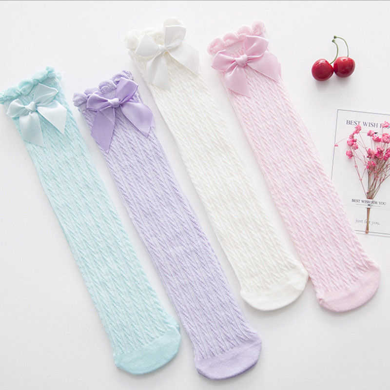 2019 New Princess Baby Girl Knee Stockings Cotton Breathable Kids Long Stocking Summer Cute Lace Bow Party Stockings Hot Sale