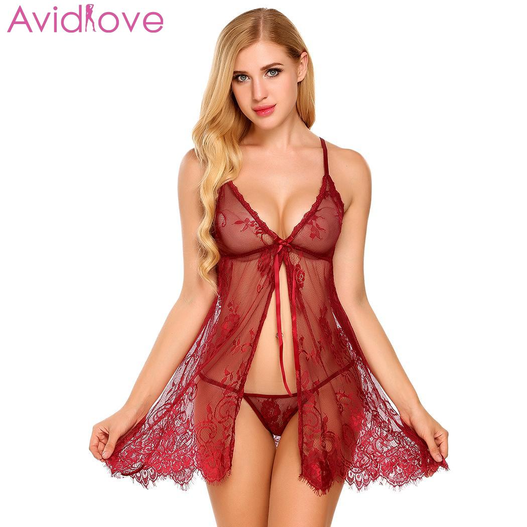 Avidlove Women <font><b>Sexy</b></font> <font><b>Babydolls</b></font> Lace Erotic Lingerie Nightwear Sleepwear Chemise Halter Backless Sleep <font><b>Dress</b></font> Nightgown Plus Size image
