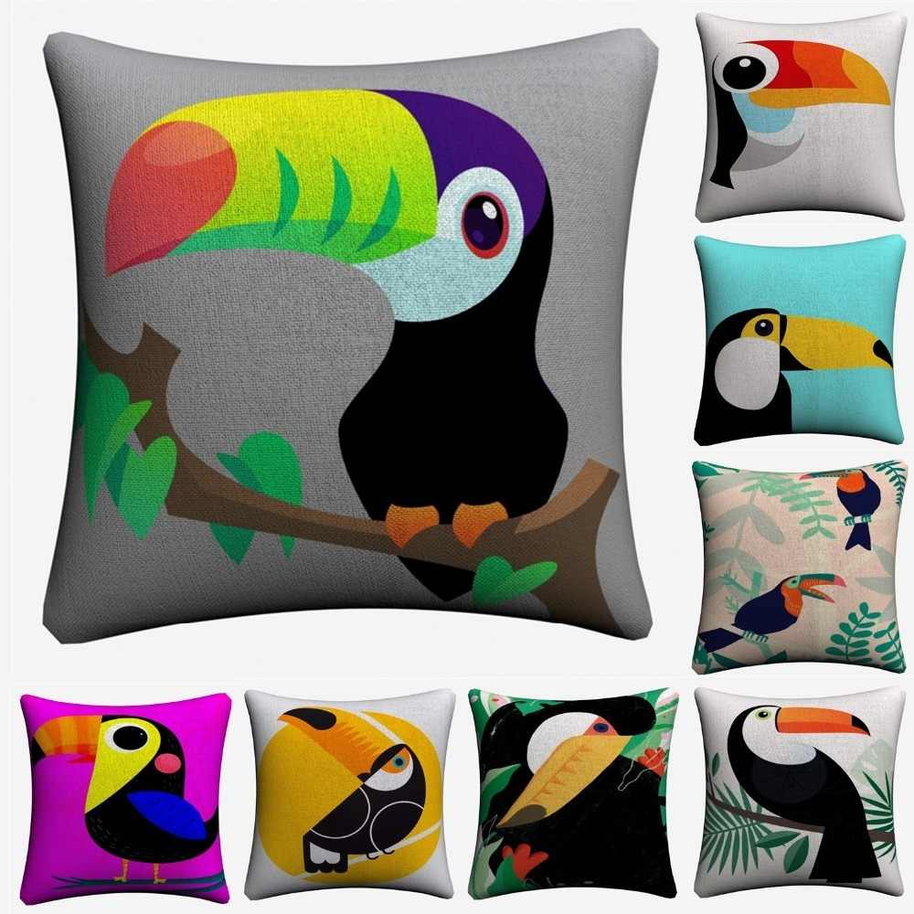 Toucan Cartoon Geometric Kids Art Decorative Cotton Linen Cushion Cover 45x45cm For Sofa Chair Pillow Case Home Decor Almofada