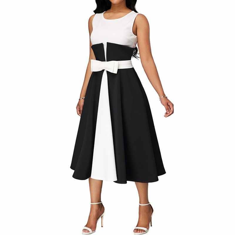 Vestido elegante talla grande de verano Sexy negro Vintage Simple Patchwork elegante azul tallas grandes Casual Oficina Midi vestidos 5XL