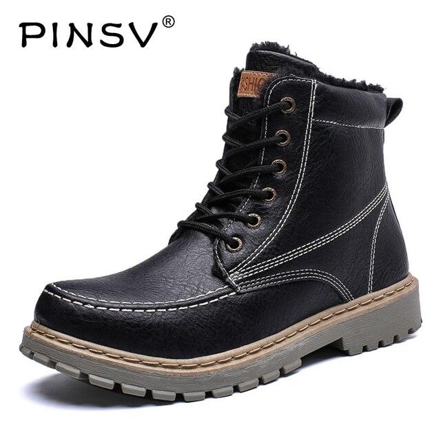 Jakości buty zimowe męskie buty PU skórzane buty męskie buty zimowe ciepłe pluszowe kostki buty robocze męskie buty PINSV