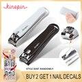 Cortauñas de acero al carbono grande KINEPIN cortador profesional de manicura recortadora de uñas de punta de alta calidad con Clip Catcher