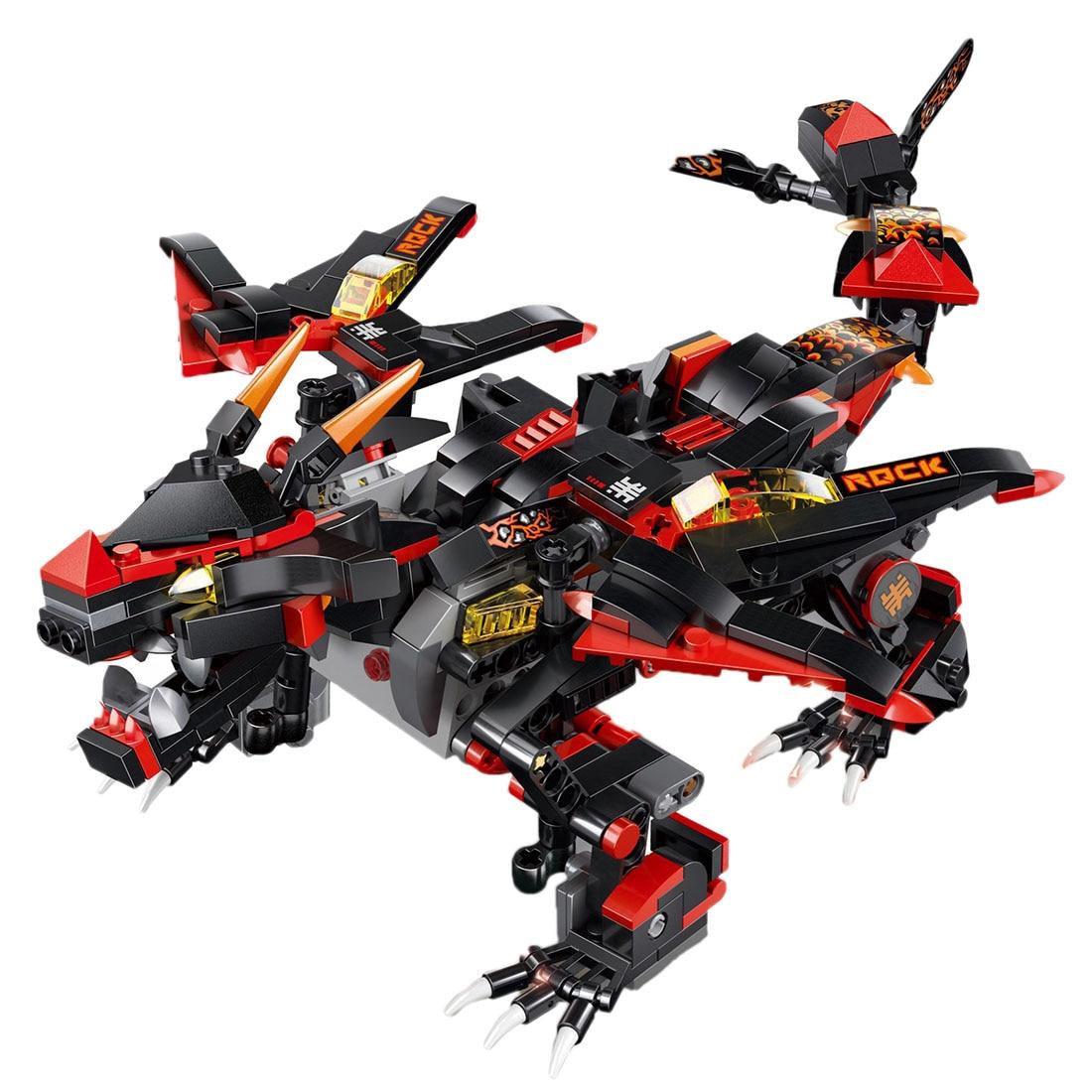 433 pcs/ensemble DIY Assemblée 2.4g 4 Canaux Télécommande Dinosaure Véhicule Démon Dragon War Camion Électrique Moteur Jouet Pour enfants