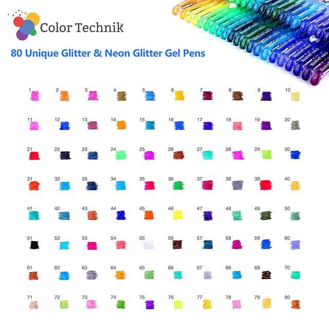 Recharges de stylo Gel pailleté par Color Technik, lot de 100 paillettes et néon scintillant, pas de doublons métallique Pastel néon paillettes Sketc