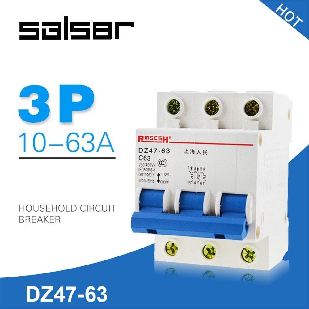 DZ47-63 3 p interruptor de atmosfera doméstica curto proteger c45 tipo pequeno-tamanho disjuntor 10/16/20/25/32/40/50/63a