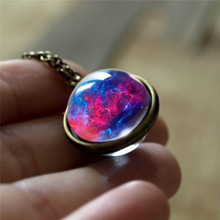 Nebula Galaxy Double Sided Pendant Necklace Glass Art Picture Handmade Statement